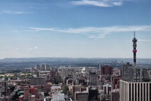 Hillbrow Tower with the Magaliesburg in the distance